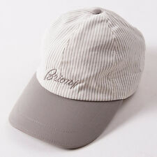 NWT $495 BRIONI Beige-White Stripe Cotton Logo Baseball Cap Hat L (58cm)