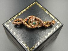 VICTORIAN ENTWINED SNAKE SERPENT ANTIQUE 10K SOLID YELLOW GOLD SEED PEARL BROOCH