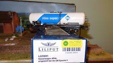 """Liliput L225891 Carro cisterna ARAL """"Alles super"""" bianco con striscia blu"""