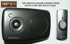WIRELESS MP3 DOORBELL Music Download Cordless Alert Portable CHIME ALARM 100M