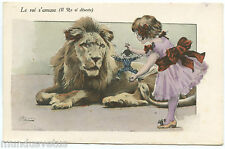 ARTIST SIGNED. CHARMANTE PETITE FILLE ET UN LION. LITTLE GIRL.JOUETS. TOYS.