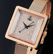 Vivienne Westwood VV053RSRS Jewelry Rose Gold Tone Women's Metal Mesh Band Watch