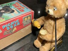 """Vintage Estate 1960s Alps Japan Battery Operated Tin Toy """"Picnic Bear"""" in Box"""
