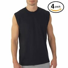 Hanes Men's Muscle Shirts 4-Pack Dyed Sleeveless T-Shirts Black 2X 100% Cotton