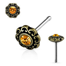 CZ Center Tribal Heart Filigree Antique Gold IP Surgical Steel Nose Stud Rings