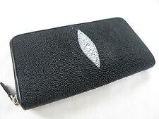 Genuine Stingray Skin Leather Zip Around Clutch Purse Wallet Black + Free Ship