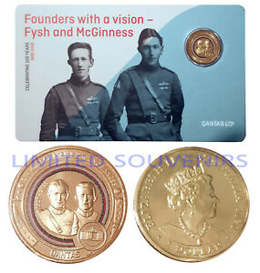2020 $1 Qantas Centenary Coloured Coin Founders Fysh & McGinness NEW SEALED