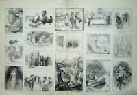 Old Antique Print 1889 Art Gallery Paintings Country People Sheep River 19th