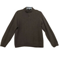 Tasso Elba 1/4 Pull Over Sweater Mens Size L Large Brown Long Sleeve Cotton