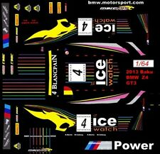 #4 ICE Watch BMW Z4 GT3 2013 1/64th HO Scale Slot Car Waterslide Decals
