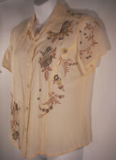 J JILL Sz S Floral Embroidered Beige Button Front Blouse Shirt S/S Rayon