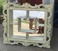 Vintage Mirrored Wood Wall Shadow Box Shelf Display Curio  - Rustic Shabby Chic