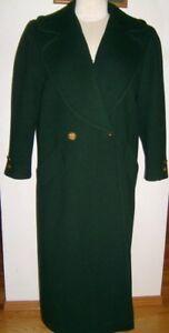 BILL BLASS Women's Large DB Long Dark Green Cloth Winter Coat VGU RTL $385