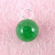 Sterling Silver - 9mm Green Jade Ball Pendant (PD475)