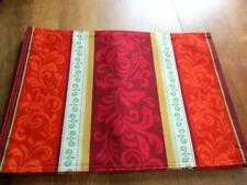 New listing 4 Placemat Set Jacobean Pattern in Orange Maroon and Gold (0053)