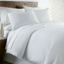 Classic Pom Pom Duvet Cover Set Made With Pre-Wash Fabric Classic Vintage look