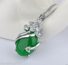 Hot Green Jade White Crystal Silver Oval Necklace Pendant