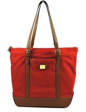 Ralph Lauren Red Tote Bag Womens Handbag Purse Canvas Leather Shopper Lined