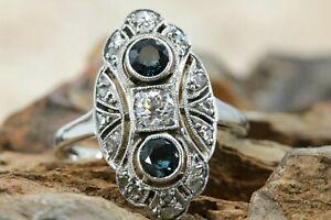 Art Deco Diamant Ring Gold 585 Weißgold 14 K 19 Diamanten 0,29 ct. VS1 H Gr 51