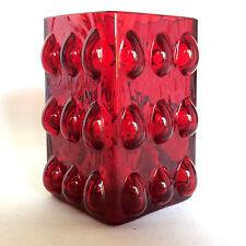 HIRSCHBERG Vase 60er 70er POP ART rot BUBBLE  Glasvase (a13)