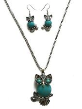 Vintage Style  Stone Owl Pendant Necklace with Earring set
