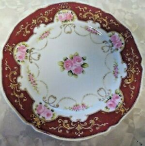 Noritake Nippon RC China Hand Painted Red Rose Flowers Gold Moriage Plate