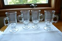 Set of 4 Irish Coffee Mugs Clear Glass Footed Pedestal 6 oz