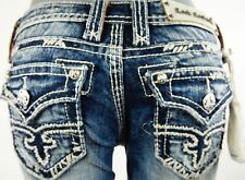 "$180 Rock Revival Womens Jean ""Abbie"" Thick Picked Stitch Straight Leg 26 X 32"