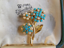 VINTAGE SIGNED SPHINX JEWELLERY SEED PEARL & BLUE TURQUOISE FLOWER BROOCH PIN