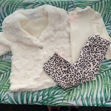 Mini Muffin 3 Piece Infant Girl 0-3 Mo Fur Coat Long Sleeve Legging Set Leopard