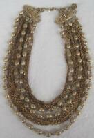 "Vintage CORO Ladies Choker 5 Strand Chain Bead Collar Necklace Gold Tone 13""-15"""