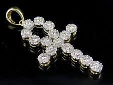 "Men's 10K Yellow Gold Real Diamond Cluster Ankh Cross Pendant Charm 1.5"" 1 CT"