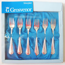 Vintage Grosvenor Silverplate Sweet/Dessert Forks 6 pcs, Dotted Design