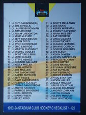 NHL 249 Hockey Checklist Stadium Club 1993/94