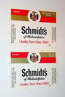 2 Vintage Schmidt's Beer Bottle Paper Label Brewing Unused NOS New 70-80s