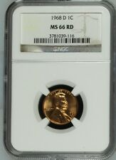 1968 D Lincoln Cent NGC MS 66 RD