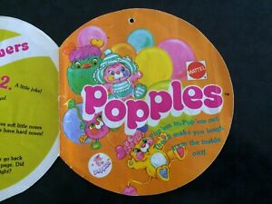 Popples Vintage 1986 Mattel Instructions booklet