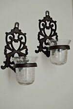 TWO, DECORATIVE CAST IRON WALL SCONCES W/ CRYSTAL HURRICANE GLASS CANDLE HOLDERS