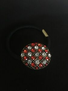 Crystal Ponytail Holder Elastic Hair Rope Hairband Oval Red White Gold Tone