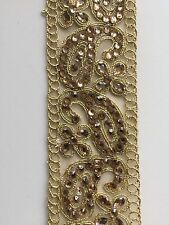 ATTRACTIVE INDIAN GOLD STONEWORK PAISLEYS ZARI  LACE/TRIM ON NET -Sold By METRE