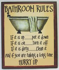 New Novelty Funny Wooden Wall Sign Bathroom Rules Rustic Country Style With Bath