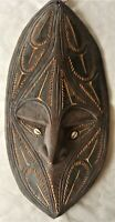 PAPUA NEW GUINEA CARVED TIMBER WALL MASK 48CM TALL