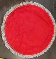 Vintage '50's Round Christmas Tablecloth with Red green white Fringe tree skirt