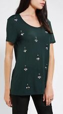 COINCIDENCE & CHANCE Gem Embellished Tunic Top Tee Green Jeweled Shirt Sz M