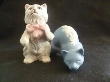 LOT OF 2 FRANKLIN MINT~1980's 3rd Series Curio Cabinet Cat Figurine