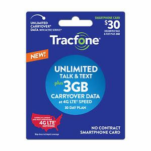 Prepaid Tracfone SIM Card refill $30 plan text/talk/3GB in minutes