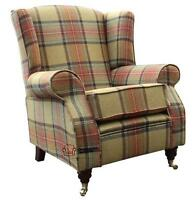 Arnold Fireside High Back Wing Chair Beningborough Goldcrest Tartan Tweed Wool