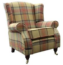 Arnold Fireside High Back Wing Chair Beningborough Goldcrest Tartan Tweed Wool