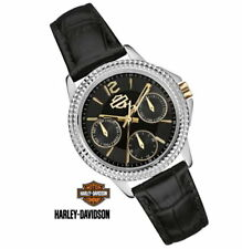 Harley Davidson Bulova Ladies Analog Watch with Black Leather Strap