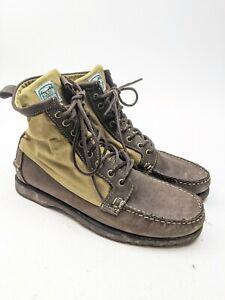 "FILSON x SEBAGO Kettle Boots 7"" Olive Canvas Tin Cloth Black Leather 9.5 M"